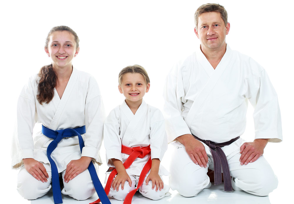 family of martial arts students